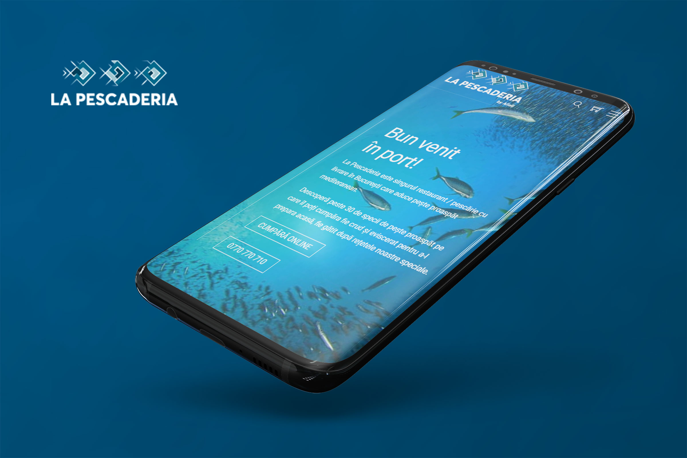 Web design and e-commerce for Pescaderia - fresh fish market and restaurant with delivery from Bucharest